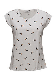 Printed cotton-blend t-shirt - WHITE