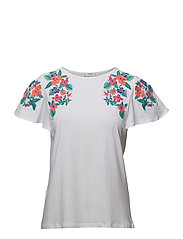 Embroidered flowers t-shirt - WHITE