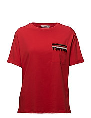 Embroidered chest-pocket t-shirt - RED