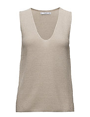 Metallic knit top - LIGHT BEIGE