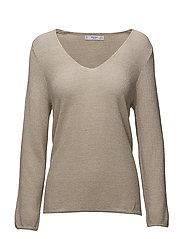 Metallic finish sweater - LIGHT BEIGE