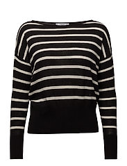 Fine-knit striped sweater - BLACK