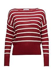 Fine-knit striped sweater - MEDIUM RED