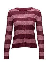 Metallic striped sweater - DARK RED