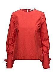 Bow poplin blouse - RED