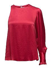 Asymmetric satin blouse - RED