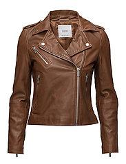 Leather biker jacket - DARK BROWN