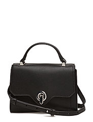 Saffiano-effect cross-body bag - BLACK