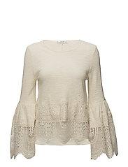 Guipure panel t-shirt - NATURAL WHITE