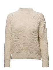Open work-detail sweater - LIGHT BEIGE