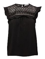 Blond detail blouse - BLACK