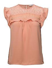 Blond detail blouse - LT-PASTEL ORANGE