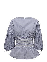 Ruched detail striped blouse - MEDIUM BLUE