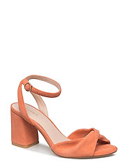 Leather ankle-cuff sandals - LT-PASTEL ORANGE