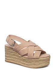 Platform leather sandals - LT PASTEL GREY