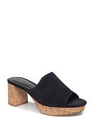 Heel leather mules - BLACK