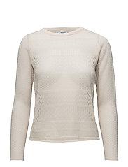 Blond-lace detail sweater - LIGHT BEIGE