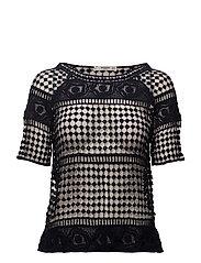 Guipure panel t-shirt - NAVY