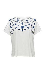 Embroidered flowers t-shirt - MEDIUM BLUE
