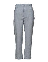 Fine-stripe suit trousers - MEDIUM BLUE