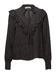 Ruffles printed blouse - BLACK