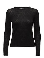 Ribbed edges sweater - BLACK