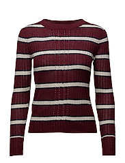 Striped rib sweater - DARK RED