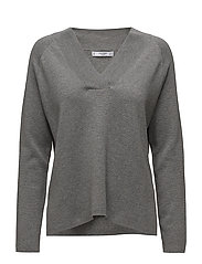 V-neckline sweater - MEDIUM GREY