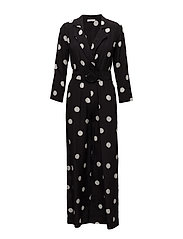 Polka-dot long jumpsuit - BLACK