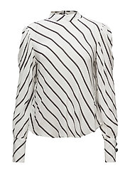 Puffed sleeves striped shirt - NATURAL WHITE