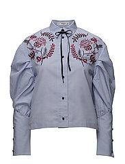 Floral embroidered shirt - LT-PASTEL BLUE