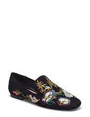 Embroidered floral shoes - BLACK