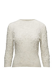 Openwork cable-knit sweater - LIGHT BEIGE