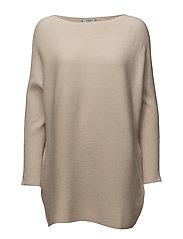 Fine-knit oversize sweater - LIGHT BEIGE