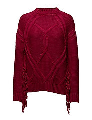 Fringed cable-knit sweater - BRIGHT PINK