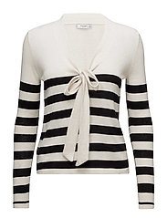 Bow striped sweater - BLACK