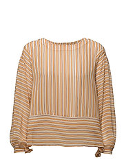 Striped bow blouse - ORANGE
