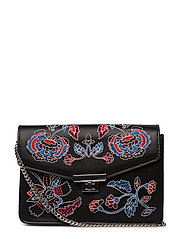 Floral embroidery bag - BLACK