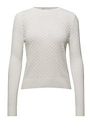 Openwork knit sweater - WHITE