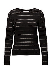 Openwork panel sweater - BLACK