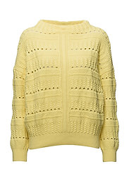 Open work-detail sweater - BRIGHT YELLOW