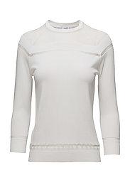 Striped panel sweater - WHITE