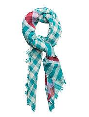 Fringed check scarf - TURQUOISE - AQUA