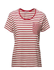 Chest-pocket striped t-shirt - RED