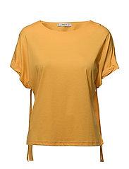 Sleeve detail mercerised t-shirt - YELLOW
