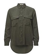 Flap pocketed shirt - BEIGE - KHAKI