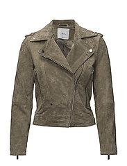 Suede biker jacket - BEIGE - KHAKI