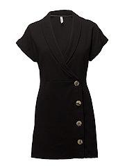 Short buttoned dress - BLACK