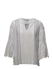 Embroidered sleeve blouse - LT-PASTEL BLUE