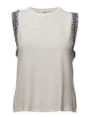 Embroidered trims top - NATURAL WHITE